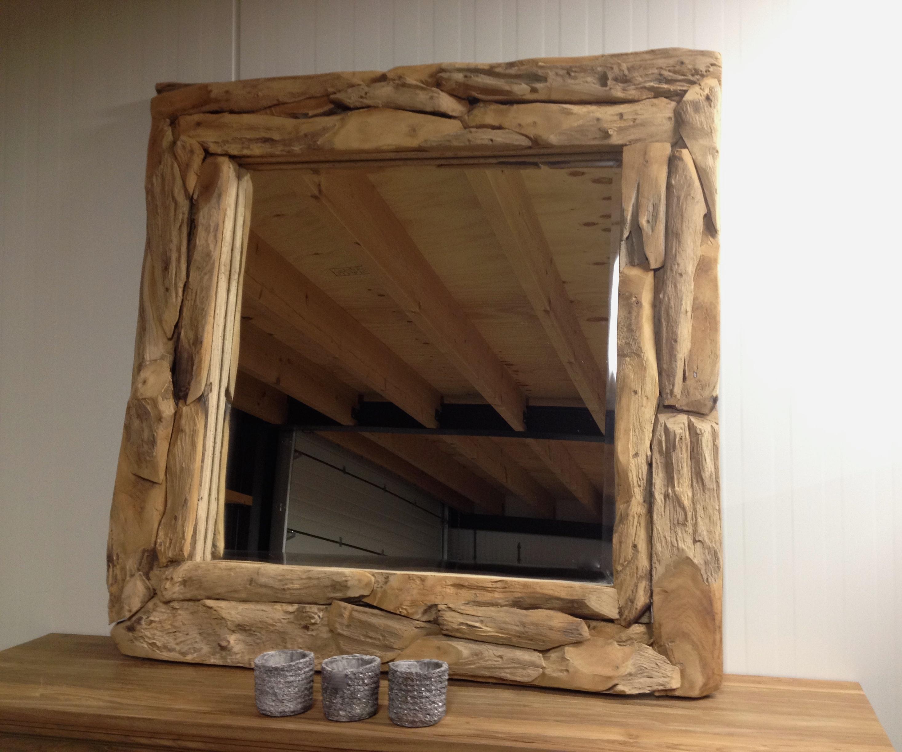 Spiegel drijfhout vierkant   Polder TEAK