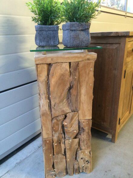 Pilaar drijfhout glasplaat