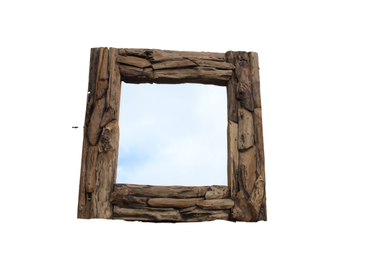 Spiegel drijfhout 80x80cm