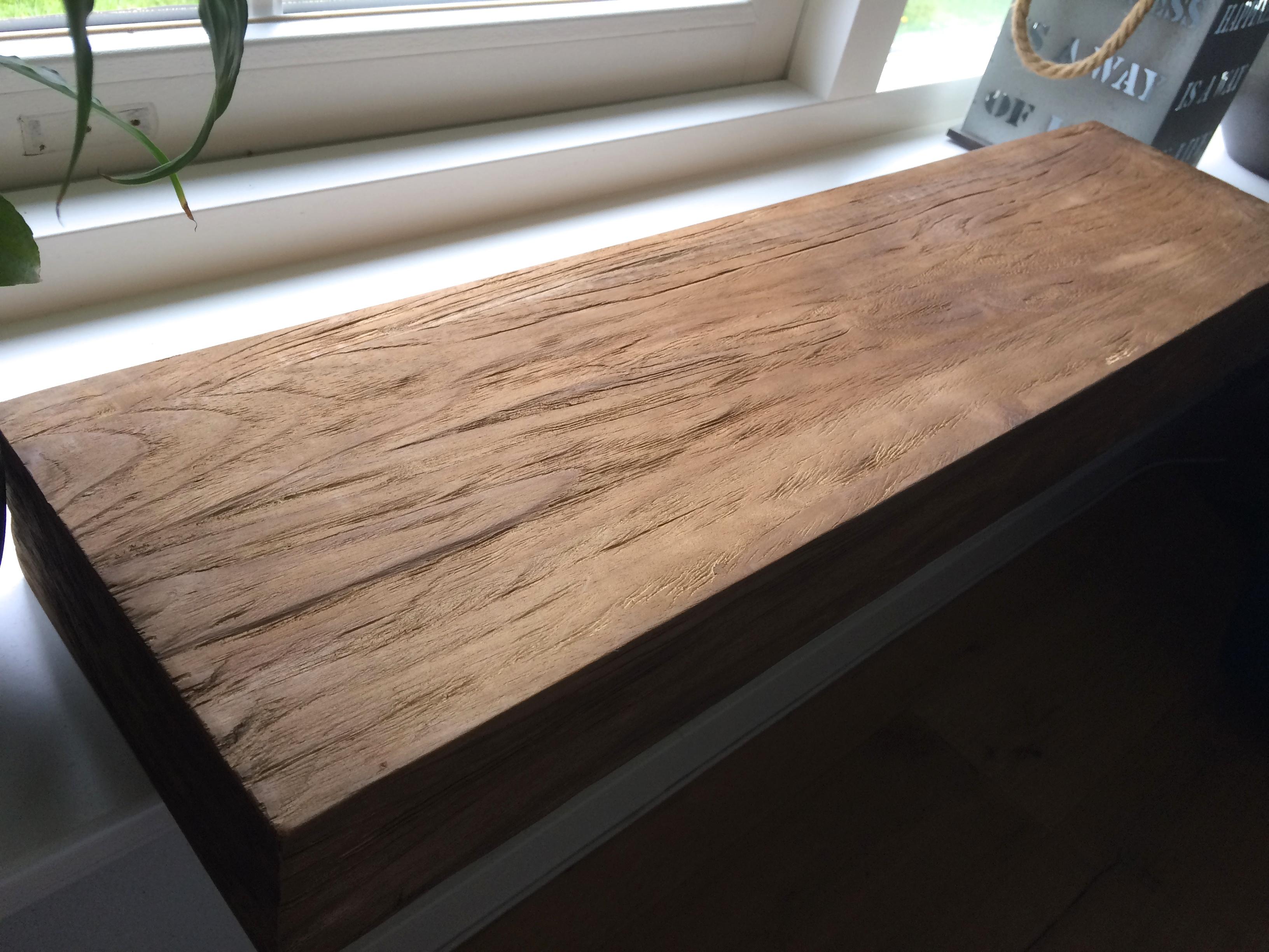 Wandplank 80 Cm.Wandplank 80cm Geborsteld Polder Teak