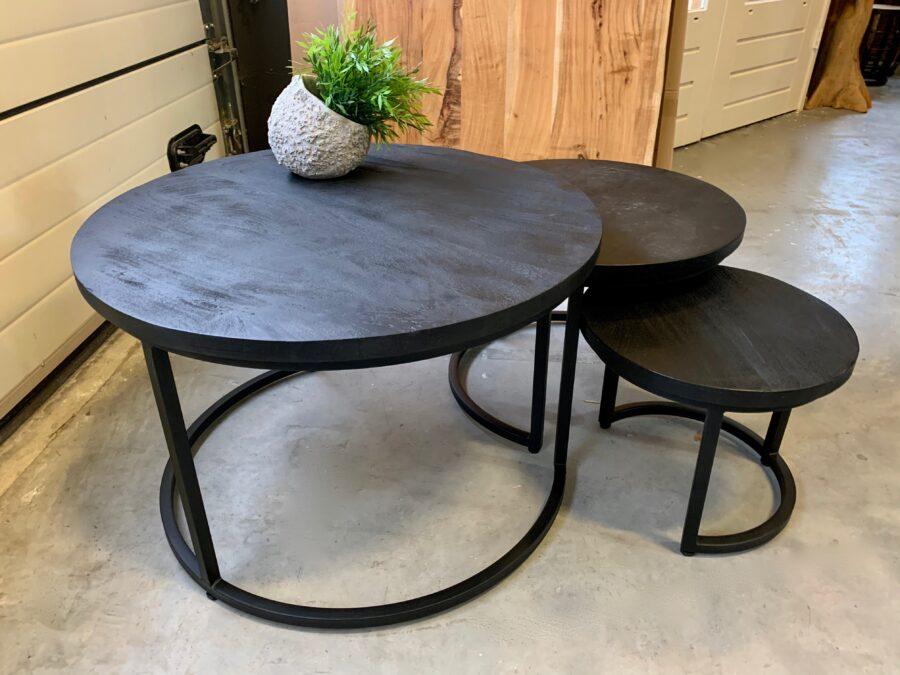 Set 3 tafeltjes zwart